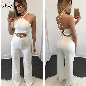 NATTEMAID Popular 2 pieces Set White Women Rompers Off the Shoulder Halter High Waist Elegant Jumpsuit Long Club Playsuit Black