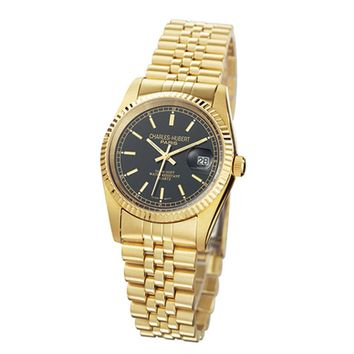 Men's Gold-plated, Round Analog Watch by Charles Hubert