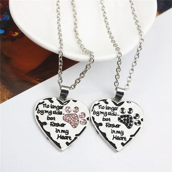 VIP Women Necklace Heart Dog Paw No Longer By My Side Pendant Necklaces Rhinestone Alloy Silver Plated Sweet Necklace