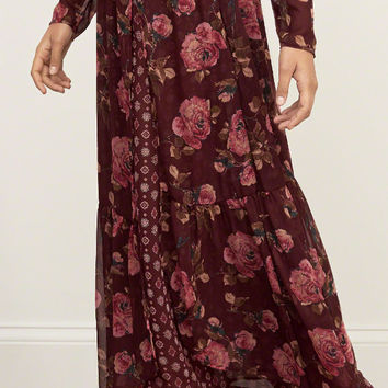 Patterned Long Sleeve Maxi Dress