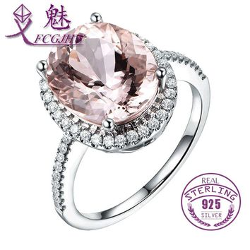 FCGJHW Authentic 925 Sterling Silver Light Pink Spinel Birthstone Finger Ring Women Fine Jewelry Accessories