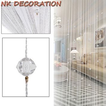 NK DECORATION Romantic White Beads Design Crystal Curtain String Door Window Curtain Divider Partition Tassel Decor 1m*2m