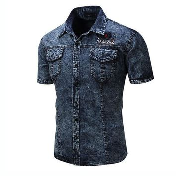 Men Shirt Short Sleeve Men Denim Shirts Vintage Cotton Jean Shirts