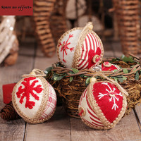 Cheap Artificial Chirstmas Tree Ornaments 2pcs Hemp Rope Christmas Balls 10cm Canvas Gift Christmas Decorations for Home Outdoor