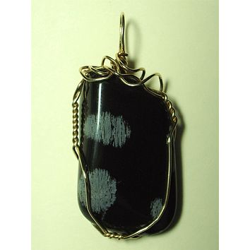 Snowflake Obsidian Stone Pendant Wire Wrapped 14/20 Gold Filled