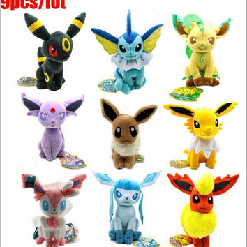 Anime 9pcs Plush Toy Eevee Vaporeon Jolteon Flareon Espeon Umbreon Leafeon Glaceon Sylveon Plush Toy Dolls Soft Stuffed Animals