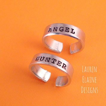 Angel, Hunter Supernatural Inspired- Aluminum Hand Stamped Ring Set