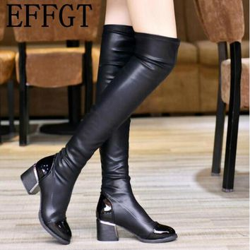 EFFGT 2017 Fashion PU Leather Over Knee Boots Women Sequined Toe Elastic Stretch Thick Heel Thigh High Riding Boots C436