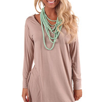 Mocha Crochet Open Back Tunic Top