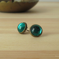 Emerald Green Glass Cabochon Earrings - Antique Brass Post Earrings