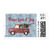 Peace Love & Joy w/ Red Toy Truck Merry Christmas Postage