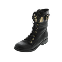 Guess Womens Ludlie Leather Belted Combat Boots