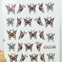 Pink and Black Butterfly Nail Decal,Orange butterfly Nail Art,20 pc/sheet