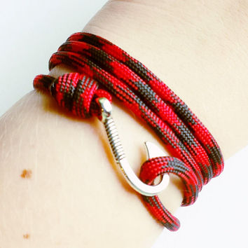 Fish Hook Paracord Bracelet- Adjustable Paracord Bracelet- Emergency Paracord Bracelet- Black & Red 550 Paracord- Unisex Survival Bracelet