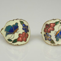 Vintage Cloisonne Enamel Clip Earrings Flower Butterfly White Blue Red Curved