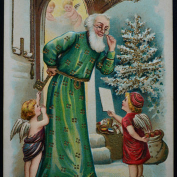 Santa Claus Postcard, Christmas Postcard, Santa Green Suit Postcard, Santa Angels Postcard, Antique Postcard, Postcards