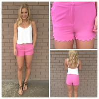 Pink Scallop Woven Shorts with Scallop Pockets