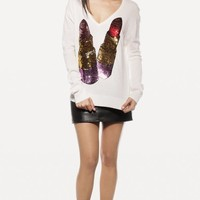 SEQUIN LIPSTICK VNECK SWEATER at Wildfox Couture in  BLACK, - CREAM