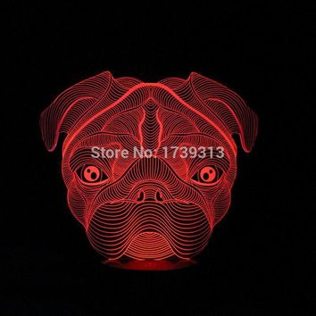 Lovely 3D Pug Shape Lamp LED Night Lights with 7 Colors Desk Lamp as Children Birthday Gifts