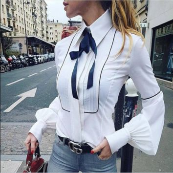 Women's spring hot style bow long sleeve shirt lantern sleeve