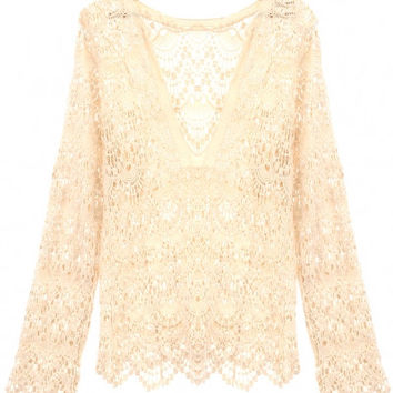 V-neck Crochet Lace Long Sleeve Cover-up