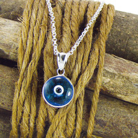Evil Eye Necklace, Blue Eye Pendant Necklace, Greek Mati, Sterling Silver Eye Jewelry