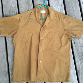 Vintage/ Retro 1950s Brown Arrow Decton Perma-Iron Batiste Sanforized Plus Men's Shirt