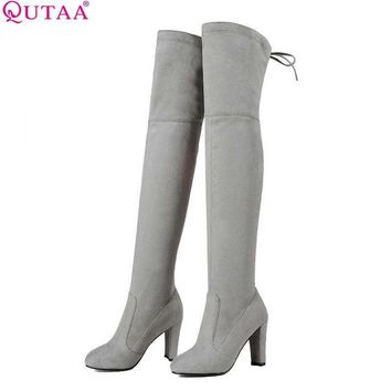 QUTAA 2017 Women Over The Knee Boots Sexy PU leather Square High Heel Women Shoes Wint