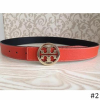 Tory Burch 2018 Men and women lychee double-sided smooth buckle belt F0891-1 #2