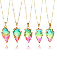 Women Colorful Irregular Shape Stone Pedant Necklace Lucky Jewelry Gift Cheap