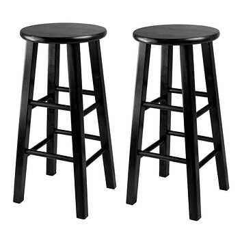 Obsidian Counter Stool With Square Leg Stools (Set of 2)-Winsome Wood