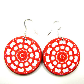 Red abstract earrings, statement dangle earrings, earrings for Valentines day, decoupage earrings, modern red earrings, large round casual