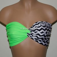 Neon Green and Chevron Bandeau Top, Swimwear Bikini Top, Twisted Top Bathing Suits, Spandex Bandeau Bikini