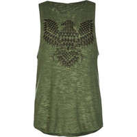 Full Tilt Ethnic Print Eagle Girl Tank Olive  In Sizes
