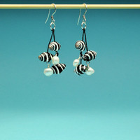 Small Black and White Pyrene Shells with White Pearls Dangle Earrings