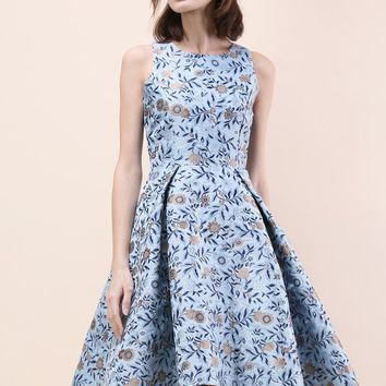 Florets Splendor Jacquard Waterfall Dress in Blue