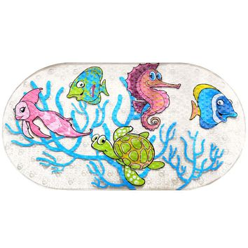 Cartoon PVC Anti-Slip Mat With Suction Cups For Bathroom SeaWorld