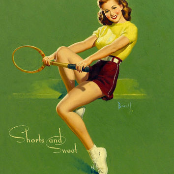 Pin-Up Girl Wall Decal Poster Sticker - Shorts and Sweet - Brunette Pinup Pin Up