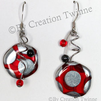 funky red dot earrings, red black and silver spiral earrings, cool earrings,unique design, bridesmaids gift, urbain asymmetrical earrings