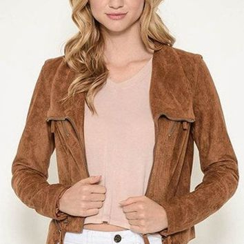 Stitched to Perfection Suede Moto Jacket - Camel