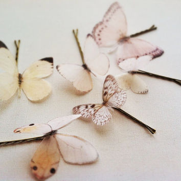 6 Silk Organza Butterfly Hairpins, Butterfly Head Piece, Butterfly Clips, Silk Butterfly Hair Clip, Butterfly Bridal Hairpins