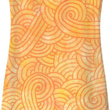 Ombre yellow and orange swirls doodles Simple Dress