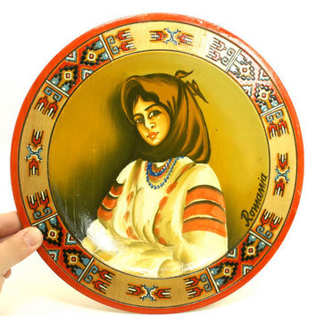 Wooden Souvenir Plate from Romania with Painting of a Woman in a Scarf Vintage