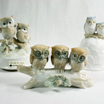 Vintage Otagiri Japan Porcelain Owl Collectibles Instant Collection of 3 Mint Condition Bell and Musical
