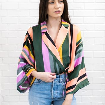 Pandora Stripe Wrap Blouse