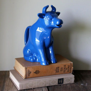 Cow Kitchen Decor Blue Figurine Pitcher Vintage Vase Ceramic Painted Upcycled Repurposed Kitsch Blue Cobalt