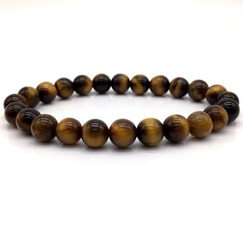 2018 Men Fashion Bead Bracelet High Quality Yellow Tiger Eye & matte & Lava Charm Diy Bracelets For Men Women Jewelry Gift