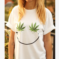 WEED SMILEY t-shirt shirt tee unisex mens women tumblr pinterest instagram sativa marijuana swag dope hipster gift *brand new