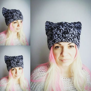 Grey Pussy Hat Black Cat Hat  Crochet Beanie Hat with Ears Animal Hat for Girls Women Cat Hat Gift
