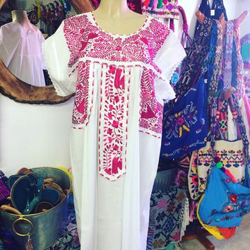 Mexican Fino Embroidered Maxi Dress White and Hot pink